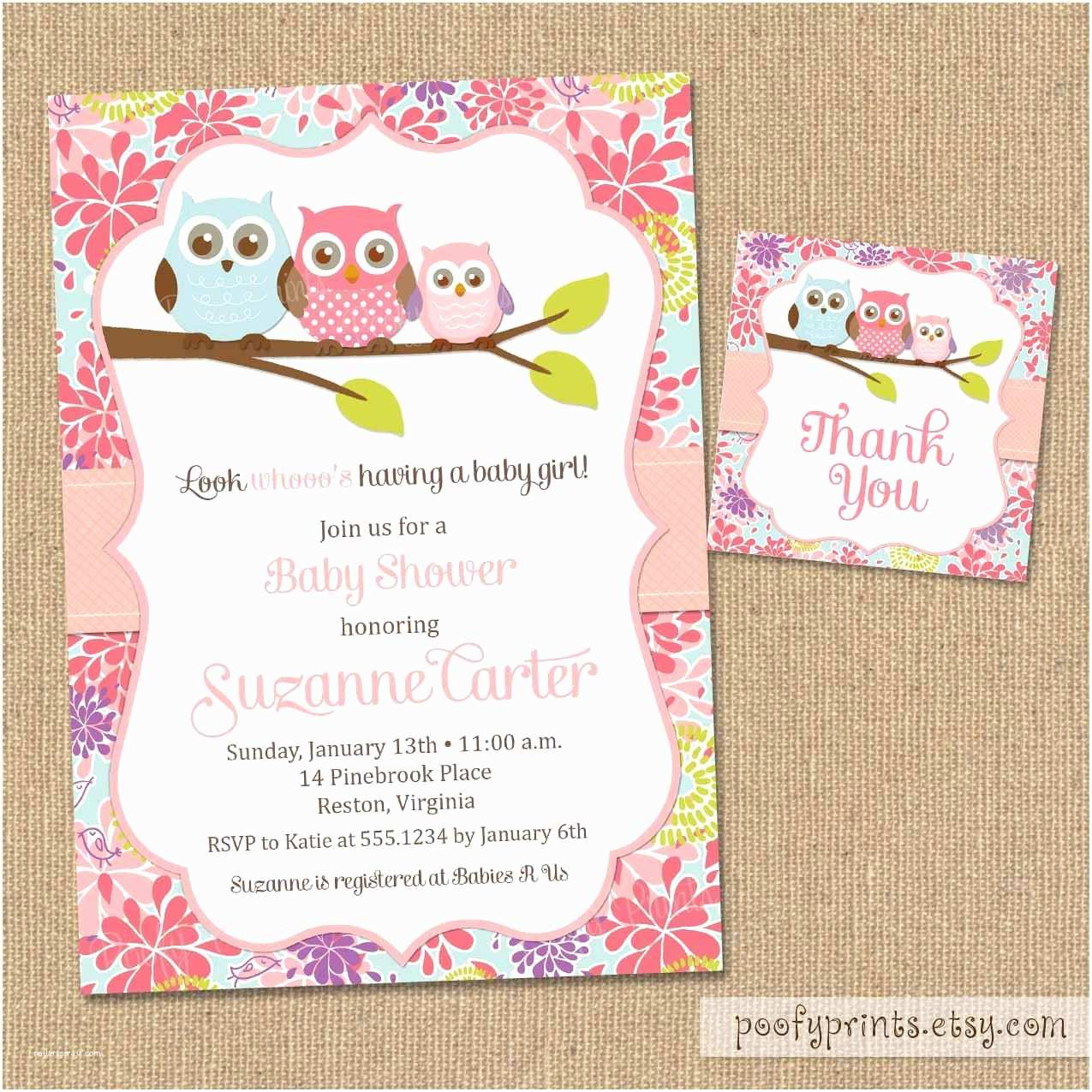 Baby Girl Shower Invitations Owl Baby Shower Invitations Diy Printable Baby Girl