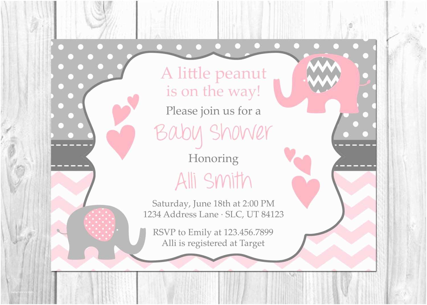 Baby Girl Shower Invitations Pink and Grey Elephant Baby Shower Invitation It S A Girl