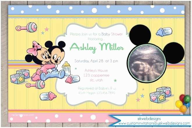 Baby Mickey Mouse Baby Shower Invitations Baby Mickey and Minnie Mouse Ultrasound Baby Shower Invitation
