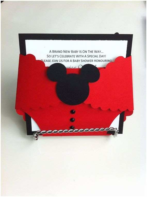 Baby Mickey Mouse Baby Shower Invitations Mickey Mouse Diaper Baby Shower Invitation by