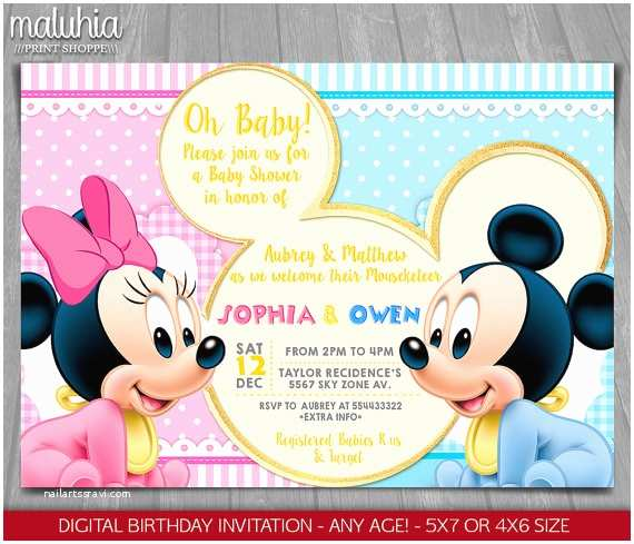 Baby Minnie Mouse Baby Shower Invitations Baby Mickey Minnie Mouse Baby Shower Invitation Baby Minnie