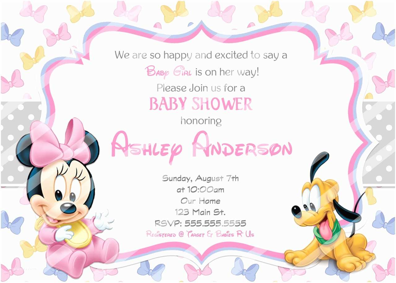 Baby Minnie Mouse Baby Shower Invitations Baby Minnie Mouse Baby Shower Invitations Bows