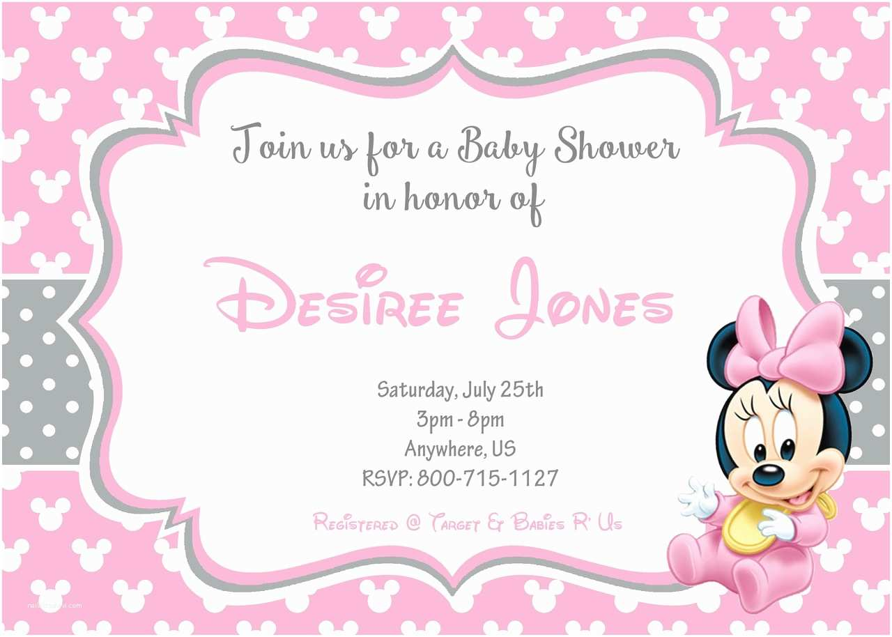 Baby Minnie Mouse Baby Shower Invitations Cute Baby Shower Baby Minnie Mouse Invitations