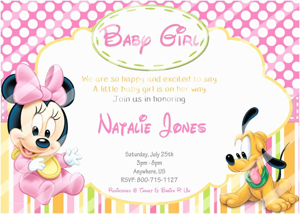 Baby Minnie Mouse Baby Shower Invitations Disney Baby Minnie Mouse Baby Shower Invitations Pluto