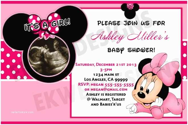 Baby Minnie Mouse Baby Shower Invitations Minnie Mouse Baby Shower Decorations Baby Shower