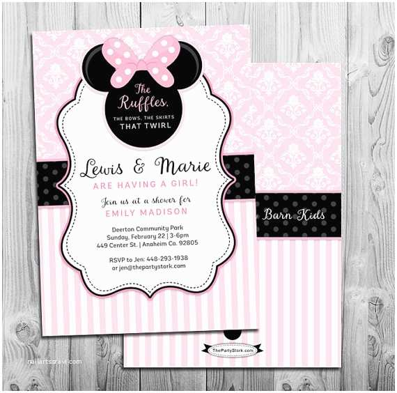 Baby Minnie Mouse Baby Shower Invitations Minnie Mouse Baby Shower Invitation Printable Invite Pink