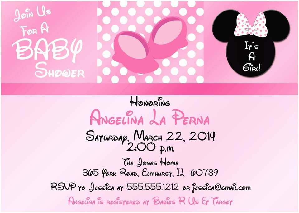Baby Minnie Mouse Baby Shower Invitations Pink Minnie Mouse Baby Shower Invitations