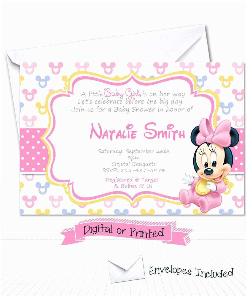 Baby Minnie Mouse Baby Shower Invitations Printed Baby Minnie Mouse Baby Shower Invitations Minnie