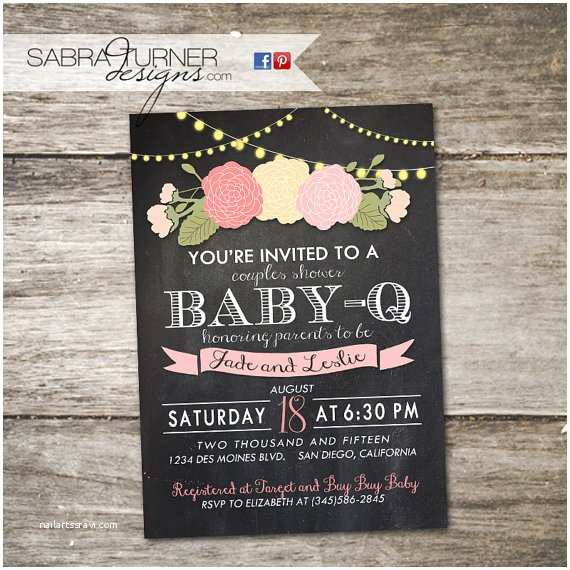 chalkboard baby q baby shower invitation