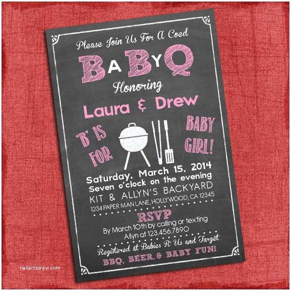 Baby Q Shower Invitations Printable Baby Girl Q Baby Shower Invitation Barbecue