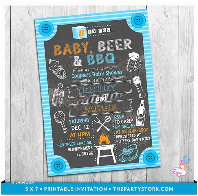 Baby Shower Bbq Invitations Baby Beer & Bbq Baby Shower Invitation Printable Chalkboard