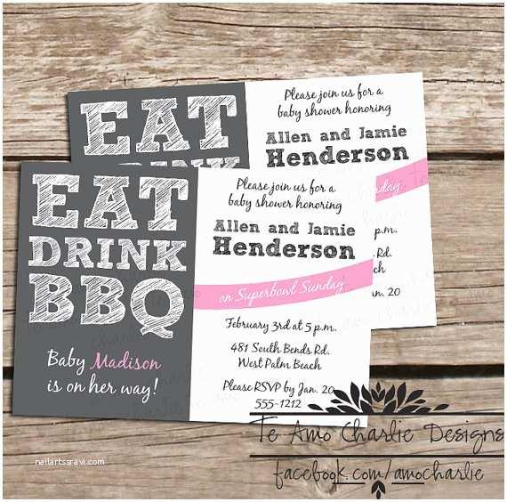 Baby Shower Bbq Invitations Printable Eat Drink Bbq Baby Shower Invitations by
