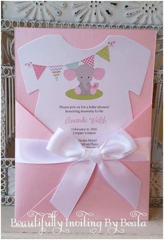 Baby Shower Diaper Invitations Baby Elephant Baby Shower Invitation Pink and Gray Baby