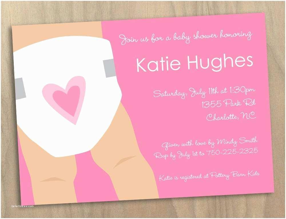 Baby Shower Diaper Invitations Baby Girl Pink Diaper Illustrated Baby Shower Invitation