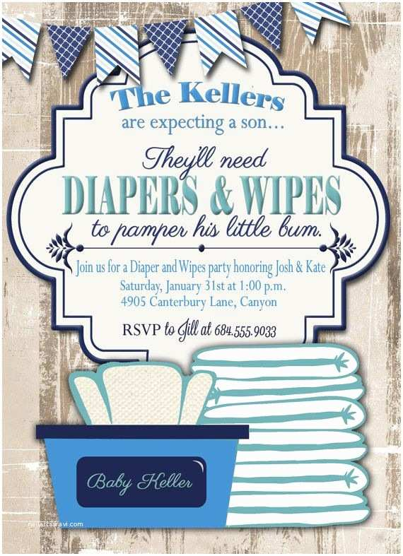 Baby Shower Diaper Invitations Baby Shower Invitation Diaper and Wipes Baby by