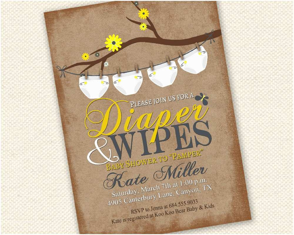Baby Shower Diaper Invitations Baby Shower Invitation Diaper and Wipes Baby Shower