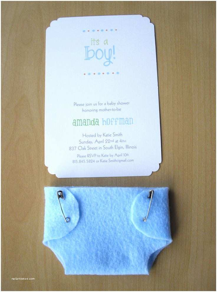 Baby Shower Diaper Invitations Boy Baby Shower Invitations Blue Diaper Felt and