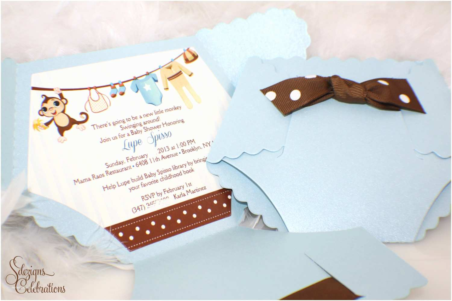 Baby Shower Diaper Invitations Diaper Baby Shower Invitation Monkey Baby Shower Invitation