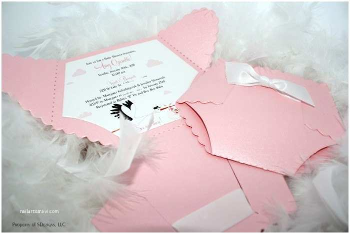 Baby Shower Diaper Invitations Diaper Baby Shower Invitation or Baby Announcement Stork