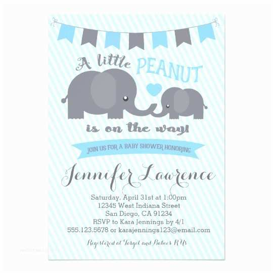 Baby Shower Elephant Invitations Blue Boy Peanut Elephant Baby Shower Invitation