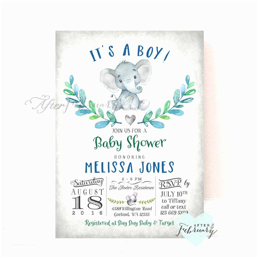 Baby Shower Elephant Invitations Elephant Baby Shower Invitation Boy Baby Shower Invitation