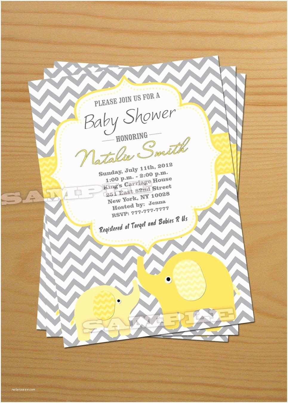 Baby Shower Elephant Invitations Elephant Baby Shower Invitation Gender Neutral Baby Shower