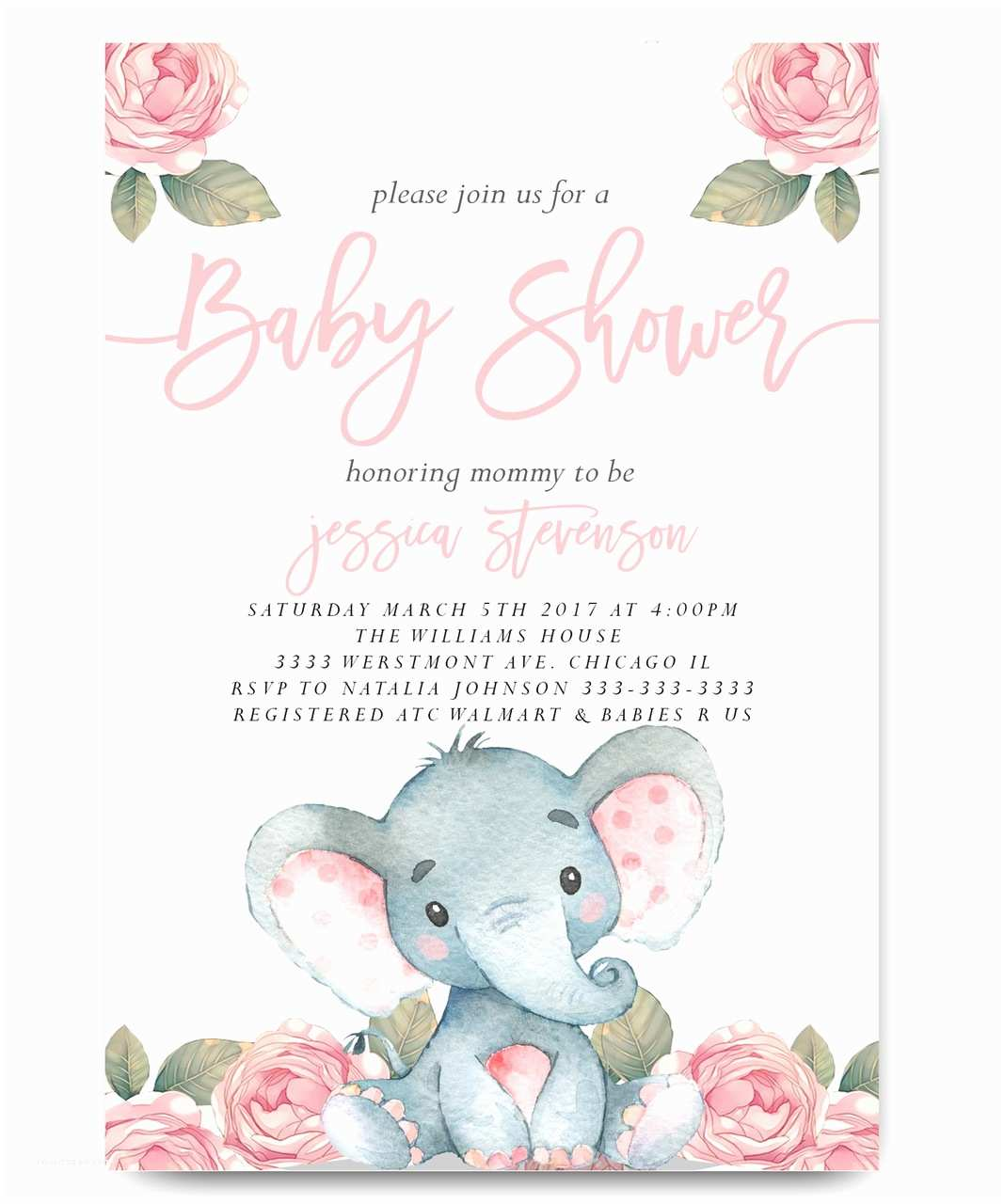 Baby Shower Elephant Invitations Elephant Baby Shower Invitation Pink Floral Elephant