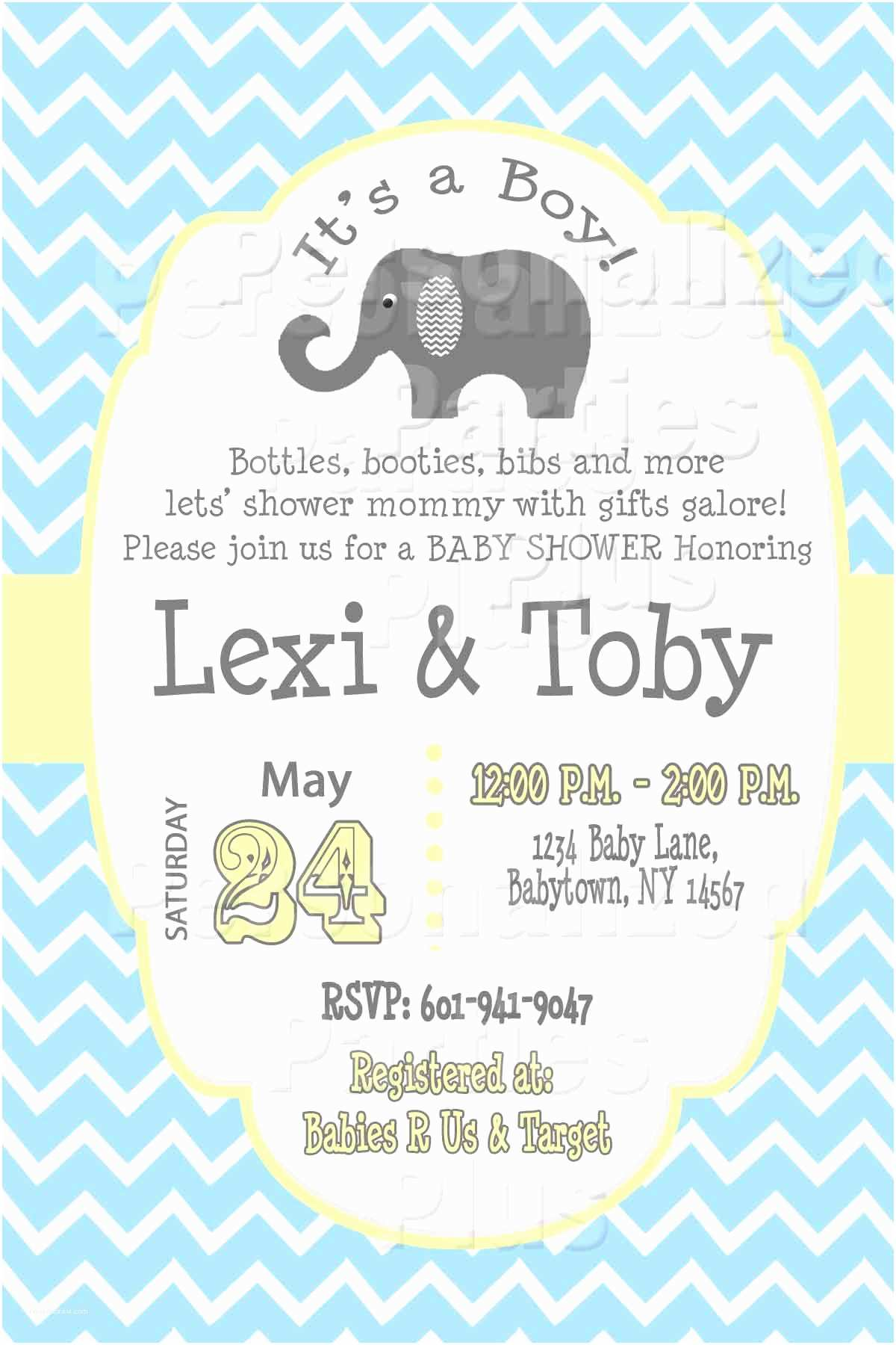 Baby Shower Elephant Invitations Elephant Chevron Baby Shower Invitations