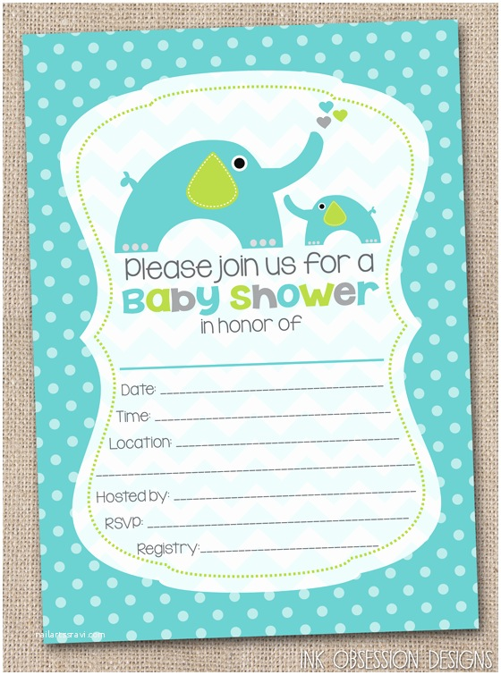 Baby Shower Elephant Invitations Ink Obsession Designs Fill In the Blank Elephant Baby