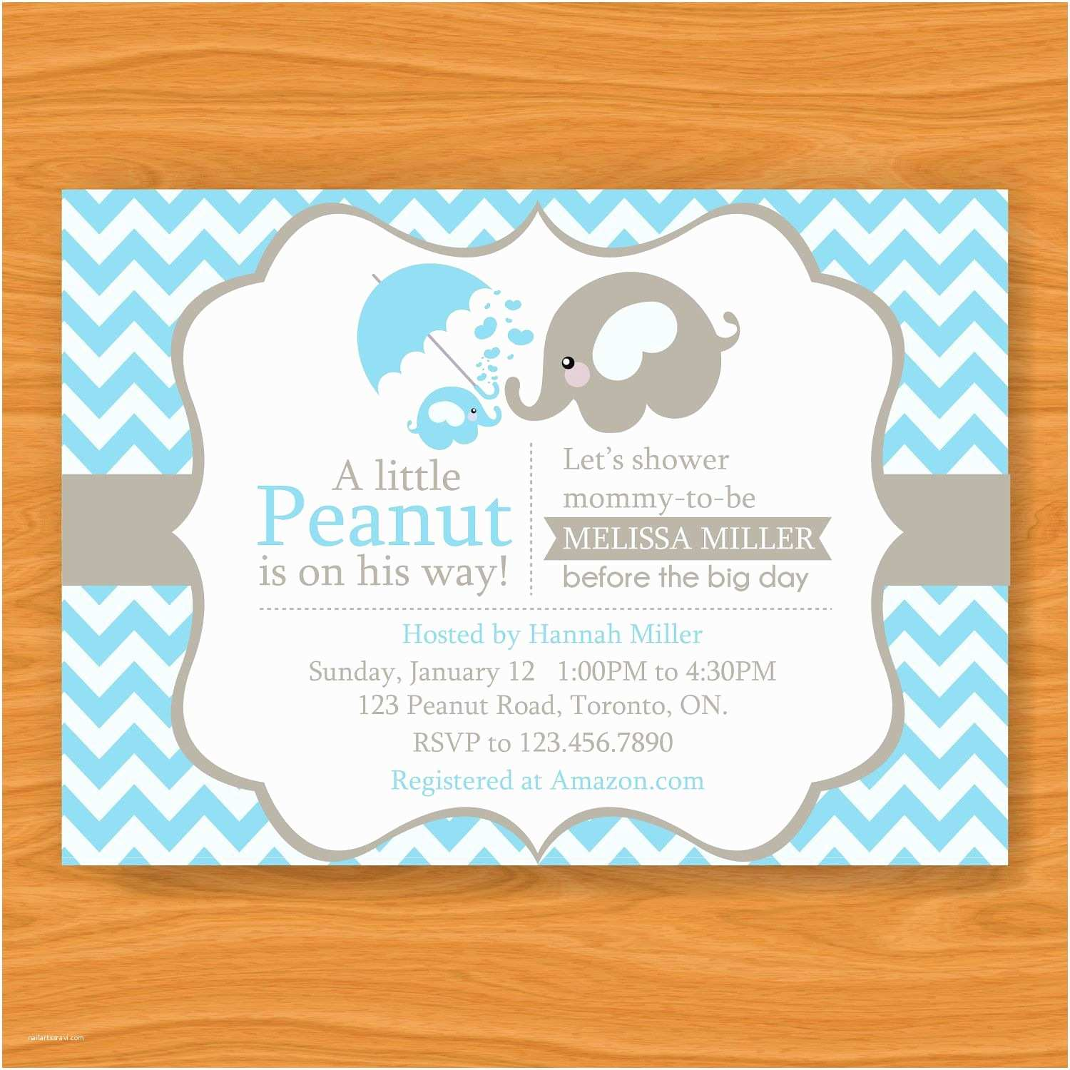 Baby Shower Elephant Invitations Printable Baby Shower Invitation A Little Peanut is
