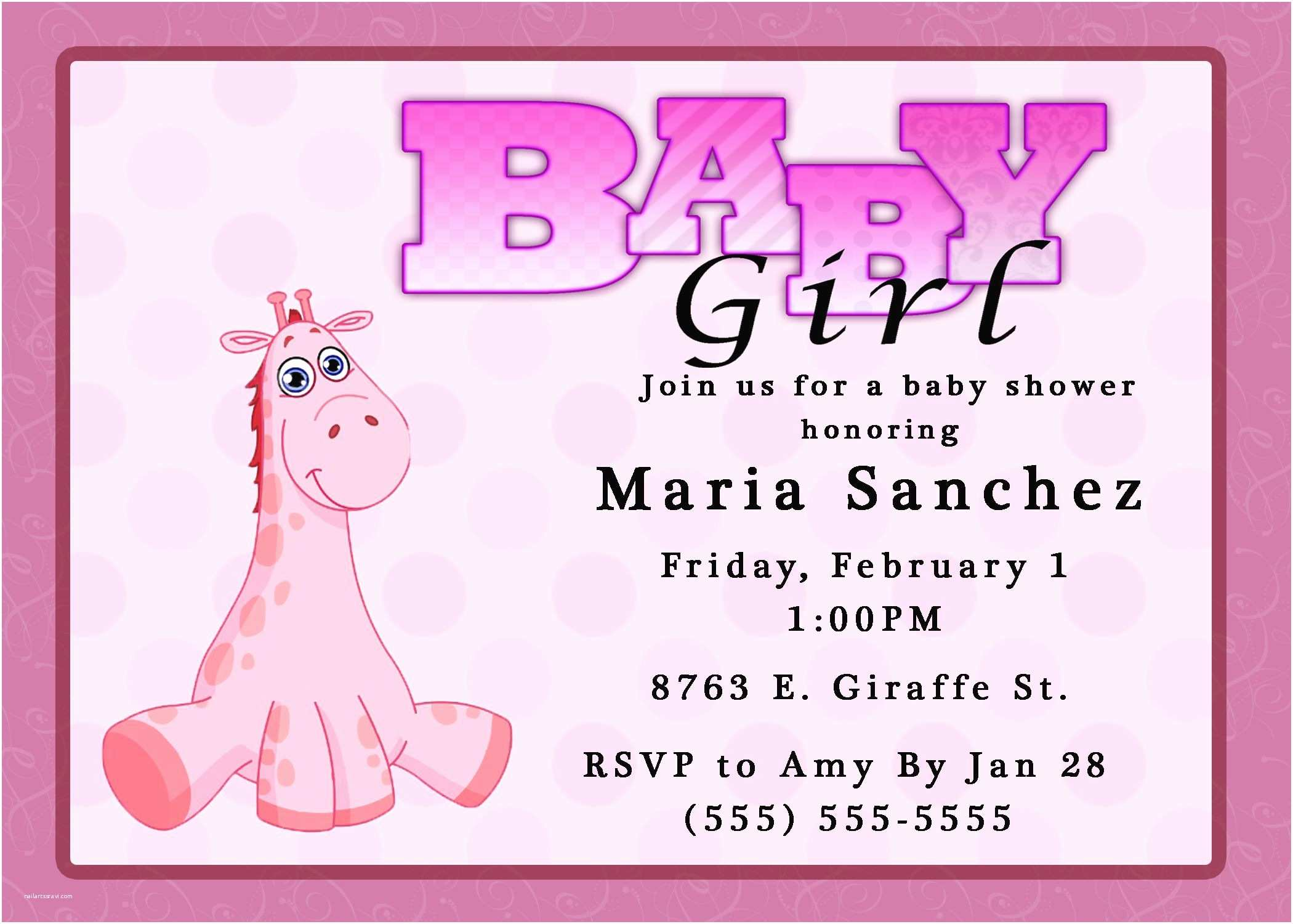 Baby Shower Girl Invitations Baby Shower Invitation Baby Girl Shower Invitations