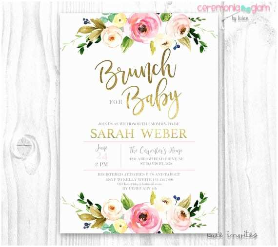 Baby Shower Girl Invitations Floral Baby Shower Invitation Brunch for Baby Invitation