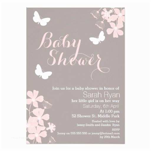 Baby Shower Girl Invitations Floral butterflies Girls Baby Shower Invitation