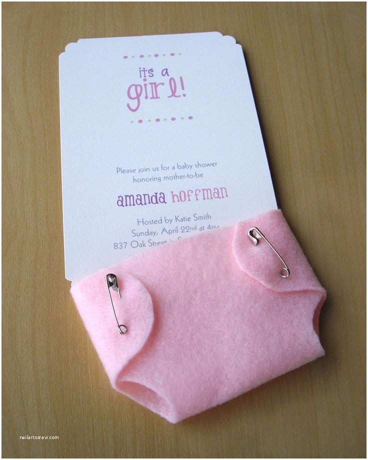 Baby Shower Girl Invitations Girl Baby Shower Invitations Cute Pink Diaper Felt and