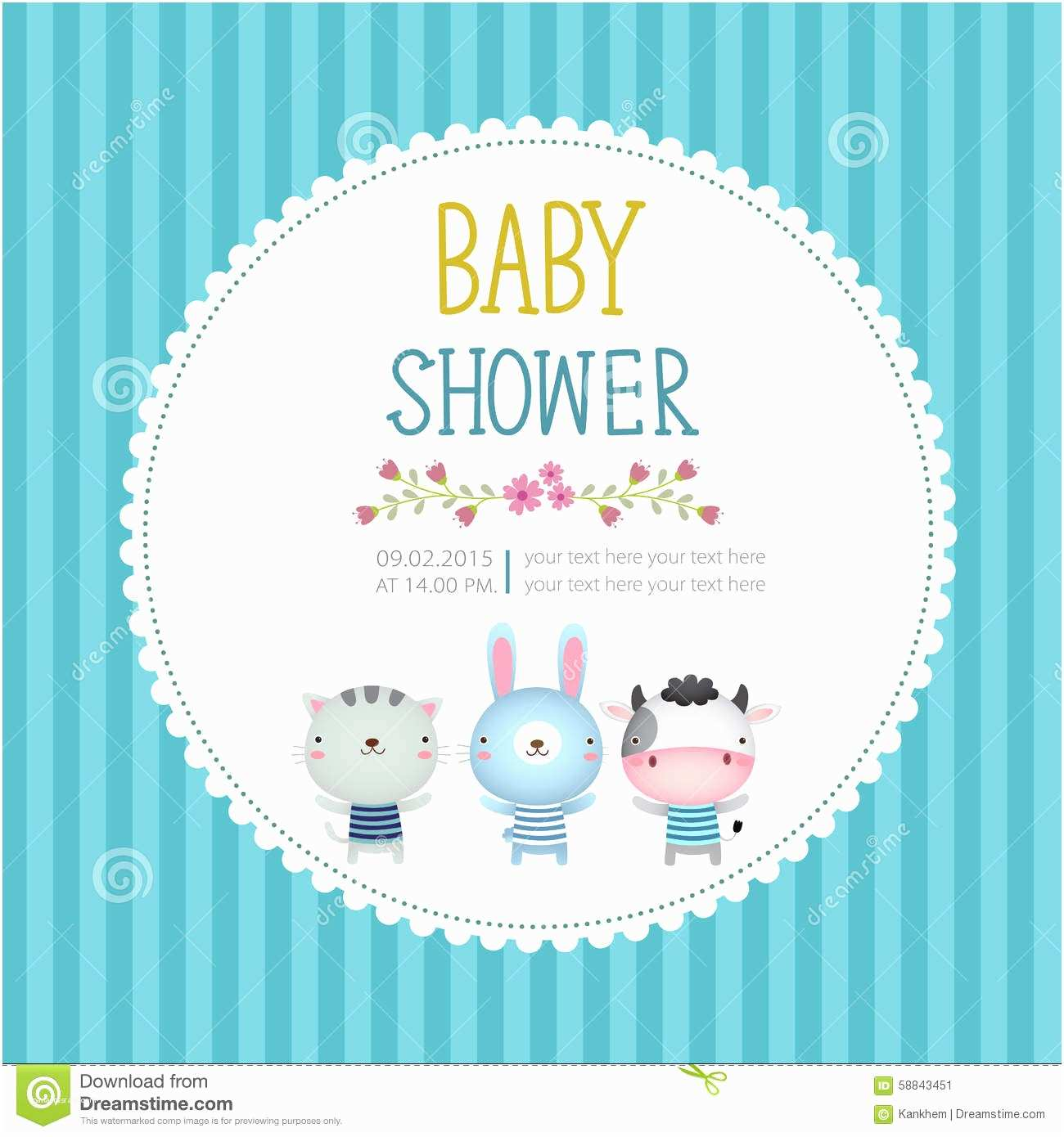 Baby Shower Invitation Cards Baby Shower Invitation Card Template Blue Background Stock