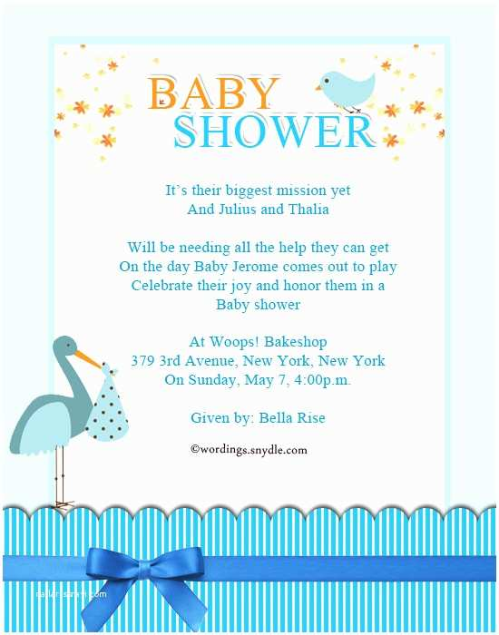 Baby Shower Invitation Cards Baby Shower Party Invitation Wording Wordings and Messages
