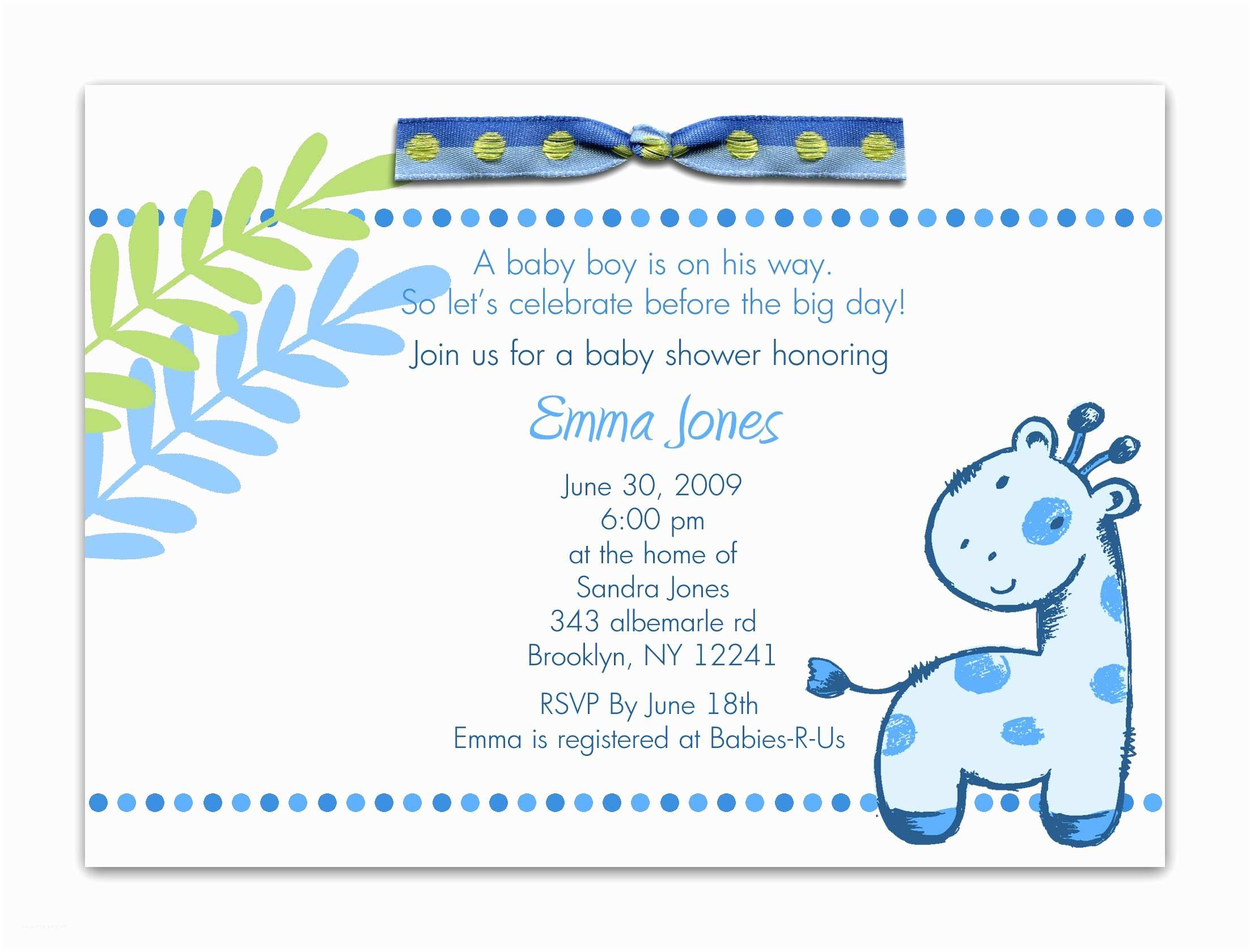 Baby Shower Invitation for Boy Baby Shower Invitation Wording for A Boy