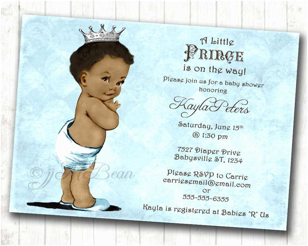 Baby Shower Invitation for Boy Boy Baby Shower Invitation African American Baby Shower