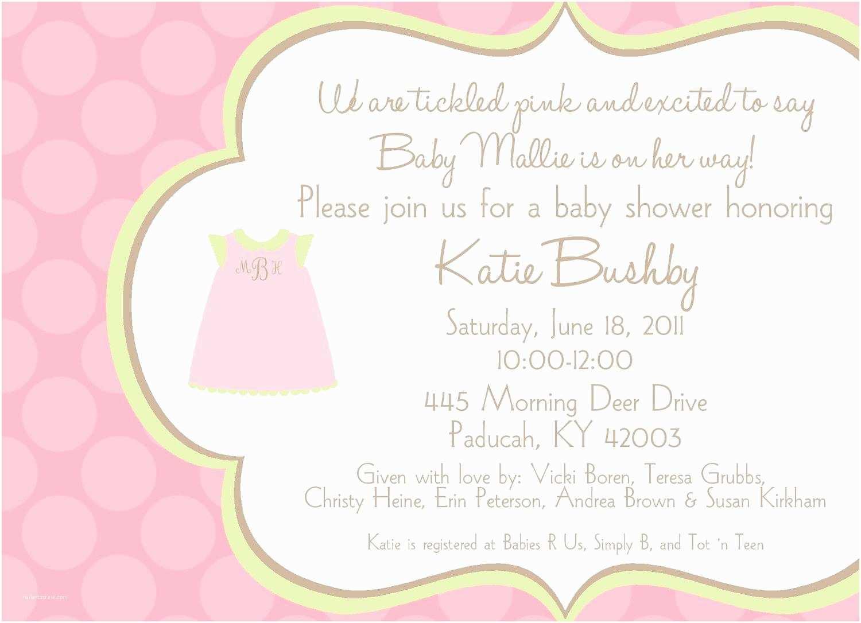 Baby Shower Invitation for Girl Baby Shower Invitation Wording for A Girl