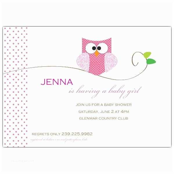 Baby Shower Invitation for Girl Owl Girl Baby Shower Invitations