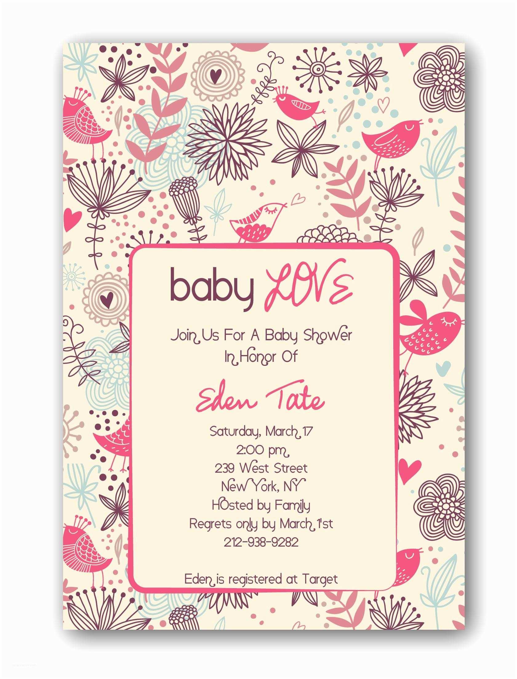 Baby Shower Invitation Girl Baby Girl Shower Invitations