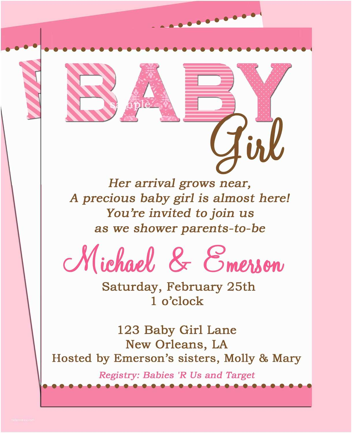 Baby Shower Invitation Girl Baby Shower Invitation Printable or Printed with Free Shipping