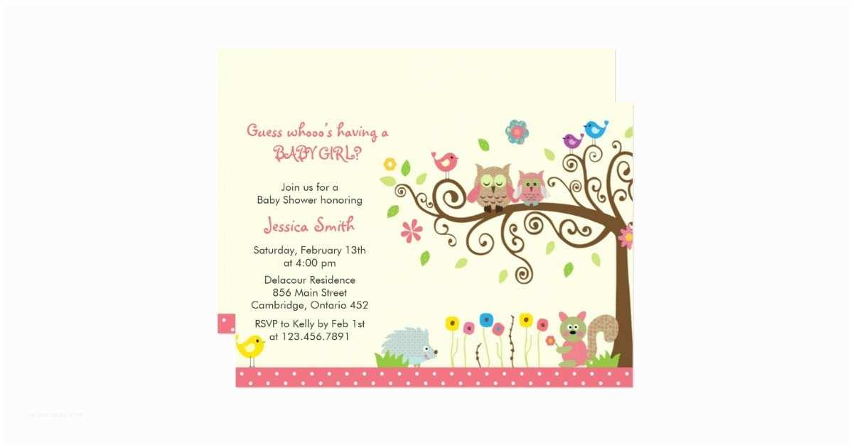 Baby Shower Invitation Girl Cute Pink Owl Girl Baby Shower
