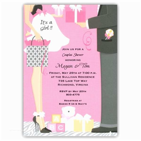 Baby Shower Invitation Girl Damask Bag Girl Baby Shower