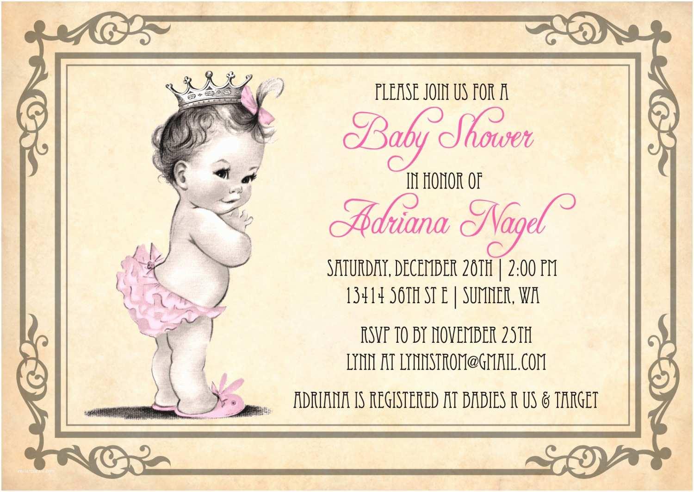 Baby Shower Invitation Girl Princess Baby Shower Invitation Girl Vintage Princess Baby