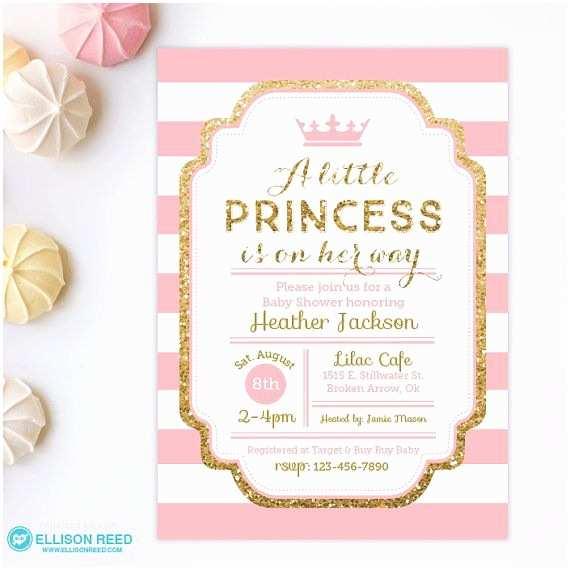Shower Invitation Girl Princess  Shower Invitation Pink And Gold