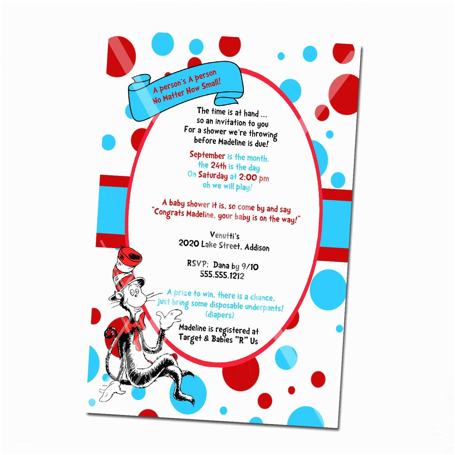 Baby Shower Invitation Ideas Dr Seuss Baby Shower Invitations Printable Free
