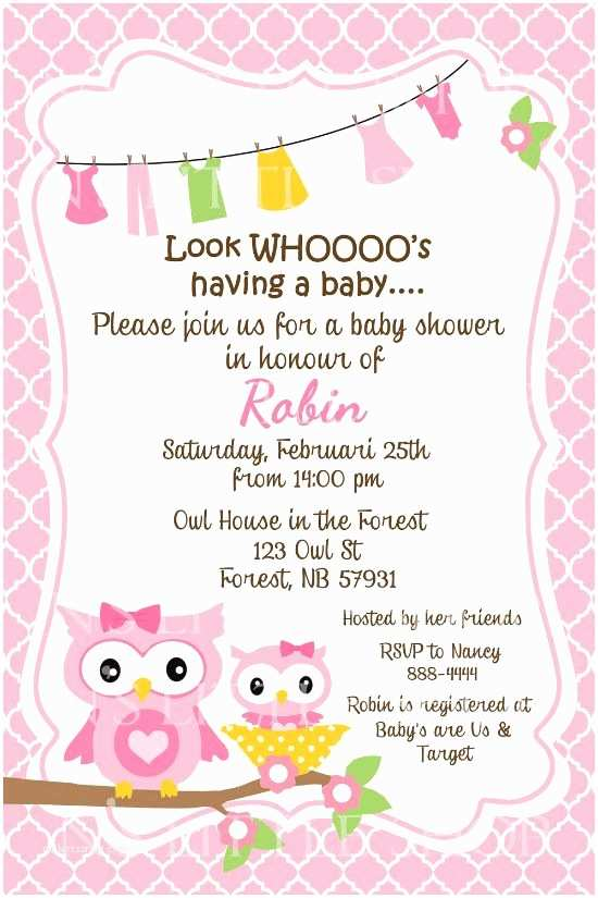 Baby Shower Invitation Message Owl Sayings for Baby