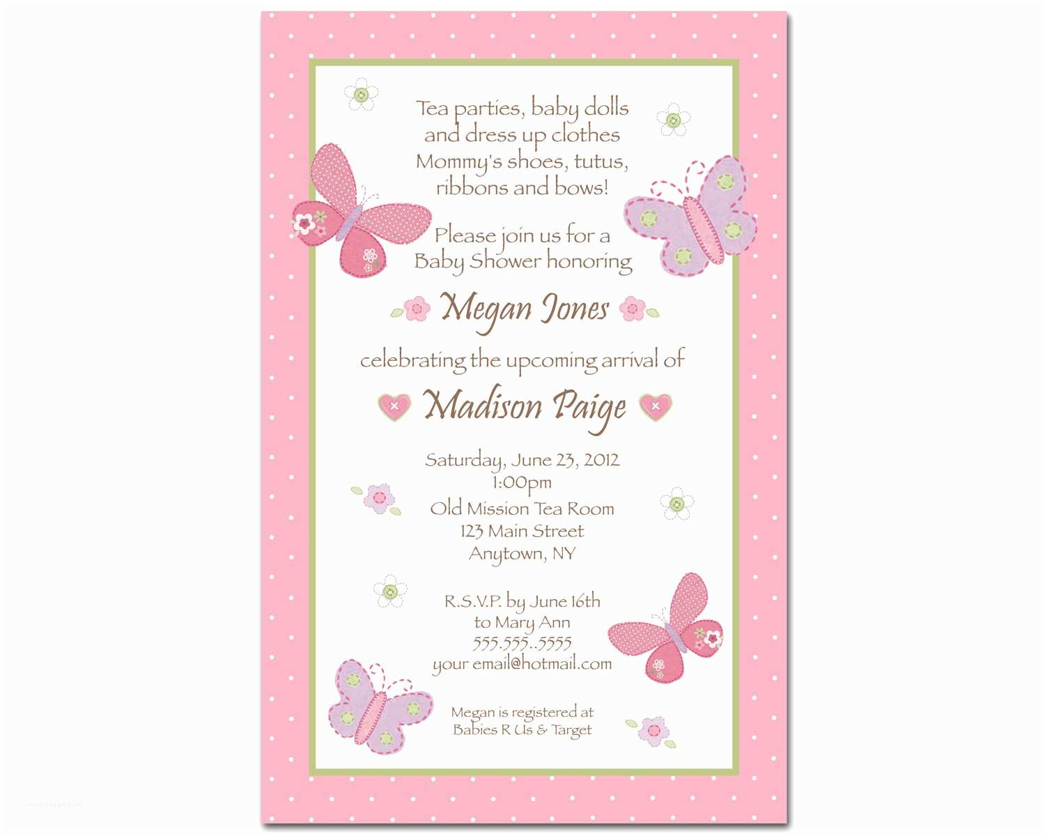 Baby Shower Invitation Template butterfly Baby Shower Invitations
