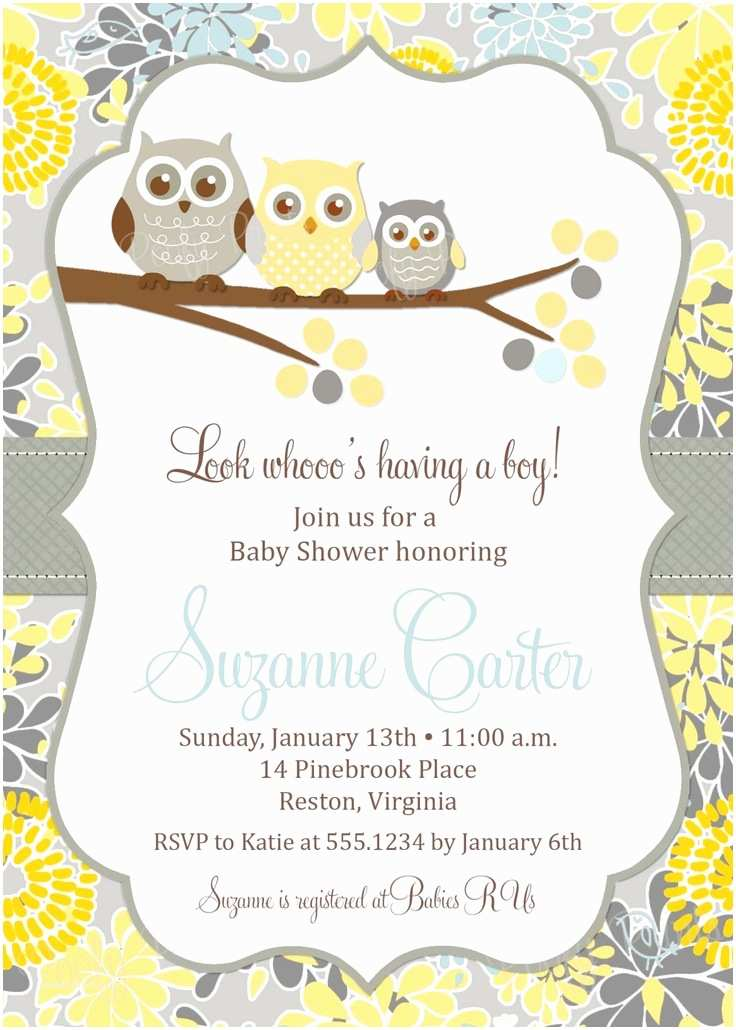 Baby Shower Invitation Template Owl Baby Boy Shower Invitation Printable Baby Shower
